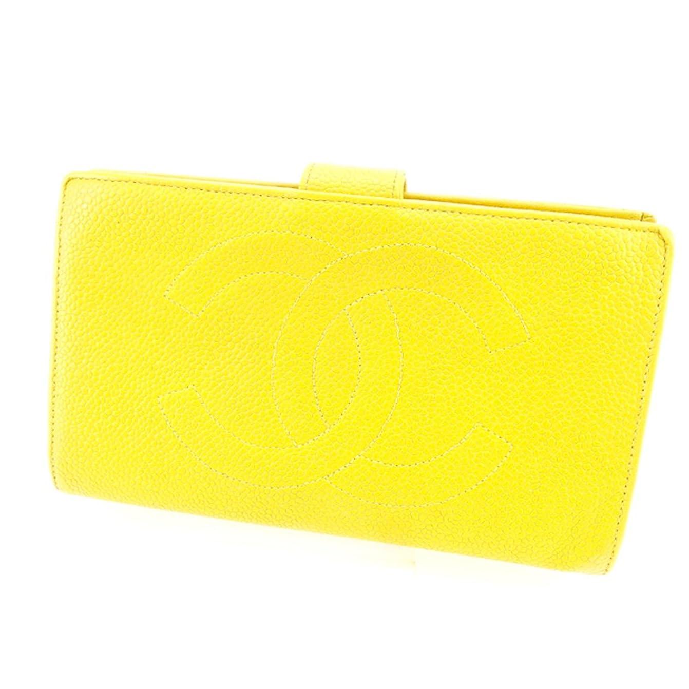 飛行場バナナ鉄道(シャネル) Chanel 長財布 がま口 財布 イエロー ゴールド オールドシャネル ココマーク レディース メンズ 可 中古 T4916