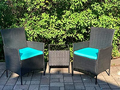 Viewee 3-Pieces Outdoor Patio Furniture Sets Rattan Wicker Patio Set with 2 Cushioned Chairs (Blue Cushion) &1 Glass Top Patio Table