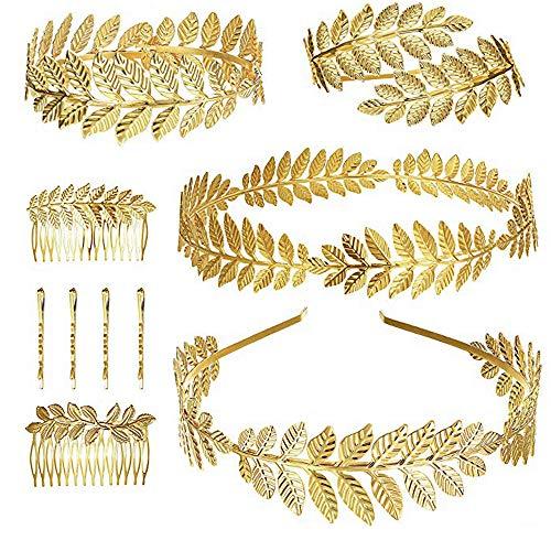 Finrezio 10 Piezas Diosa Griega Laurel Leaf Bracelet Corona De Oro Venda...