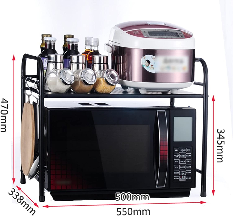 BJLWT Microwave Oven Rack Metal Seasoning Rack Storage Shelves Kitchen, 3 Types Available Goods Racks (Size   1 Layer)