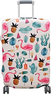 """Thickened Suitcase Cover 18/24/28/32 Inch Luggage Spandex Protective Cover (XL(29""""-32""""luggage), White Flamingo)"""