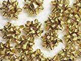 "PEPPERLONELY Brand 20PC Peel & Stick 1-1/4"" Metallic Gold Mini Star Confetti Bows Christmas Gift Wrap Bows"