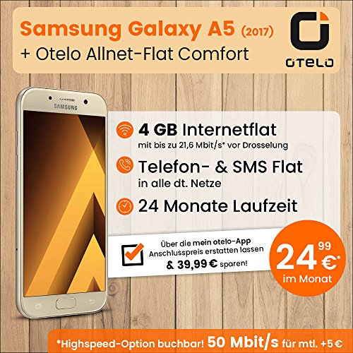 Samsung Galaxy A5 mit 32GB internem Speicher (gold), Otelo Allnet-Flat Comfort inkl. 4 GB Datenvolumen mit max 21,6 Mbit/s inkl. Telefonie- und SMS-Flat, EU-Roaming, 24 Monaten min. Laufzeit, mtl. € 24,99