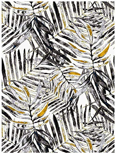 Blooming Wall PS024 Peel&Stick Handpainting Watercolor Black Gray Yellow Leaves Self-Adhesive Prepasted Wallpaper Wall Mural,