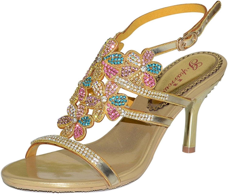 Doris Fashion Women's Glitter Rhinestone Evening Wedding Dress High Heel Open Toe Casual Sandals shoes
