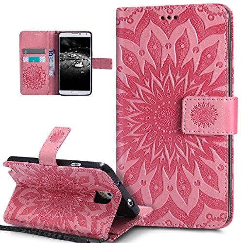 Kompatibel mit Galaxy Note 3 Hülle,Galaxy Note 3 Schutzhülle,Prägung Mandala Blumen Sonnenblume PU Lederhülle Flip Hülle Cover Schale Ständer Etui Wallet Tasche Hülle Schutzhülle für Galaxy Note 3,Rosa