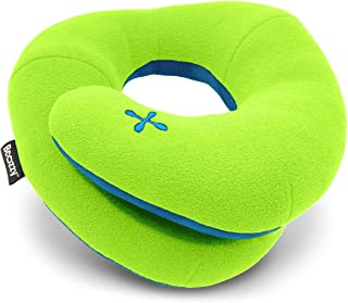 BCOZZY Kids Travel Pillow, Patented Neck & Chin Design to Keep Childs Head from Bobbing in Car Rides & Airplane, Provides Complete Head Support for Comfortable Sleep On The Go. Child, Apple-Green