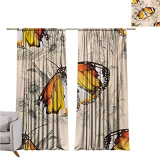 Andrea Sam Blackout Tie Up Shade Curtain Butterfly,Sign of Supreme Grace and Meditative Journey Real Self Creature Theme,Orange Black Cream W108 x L96 inch,Lifable