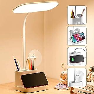 60 چراغ رومیزی LED برای دفتر کار خانگی با پورت شارژ USB ، دارنده قلم ، چراغ میز قابل تنظیم Gooseneck 3 درجه حرارت رنگ کنترل لمسی بدون نور برای اتاق خواب میز مطالعه میز کار