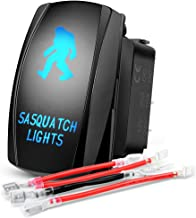 Nilight 90003B Sasquatch Rocker 5Pin Laser On/Off LED Light 20A/12V 10A/24V Switch Jumper Wires Set for Jeep Boat Trucks,2 Years Warranty