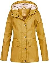 Holzkary Women's Trench Coats Casual Waterproof Ski Jacket Windproof Rain Jacket Outdoor Hooded Windbreaker
