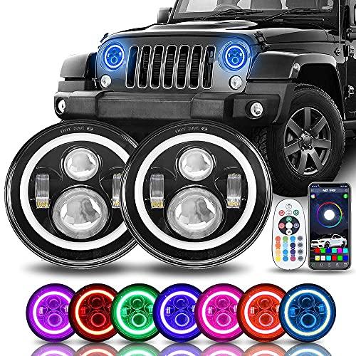 SUNPIE 7 inch LED Headlights Bulb(Built in CANBUS) Colorful RGB Halo Angel Eye for 1997~2018 Jeep Wrangler JK LJ CJ Sahara Sport Rubicon Hummer H1 H2 Headlamp Driving Lights DRL