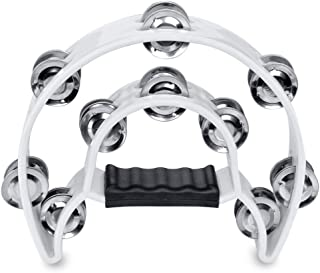 Flexzion Half Moon Musical Tambourine (White) Double Row Metal Jingles Hand Held Percussion Drum for Gift KTV Party Kids Toy with Ergonomic Handle Grip