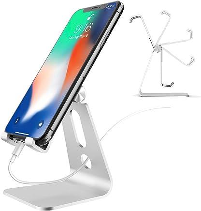iVoler [Garanzia a Vita] Supporto Telefono, Supporto Regolabile in Alluminio per Telefono: Multi-Angolo Supporto Dock Stand per Nintendo Switch, iPhone, Samsung Huawei Honor ASUS Zenfone - Argento