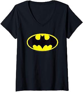 Femme DC Comics Batman Logo T-Shirt avec Col en V