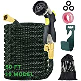 AerWo 50ft Expandable Garden Hose Water Hose with 10 Function Spray Nozzle and Durable 4 Layers Latex 3/4'' Solid Brass Fittings-Strength 3750D Durable Flexible Watering Hoses for Garden Car Washing