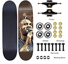 Four Wheeled Skateboard 7-Layer Maple Skateboard Completely Easy to Navigate Skateboard ILQ-9 Bearings Adopted Hard Wheels for Practice of Tricks Balance Sense Training Adult Boys and Girls