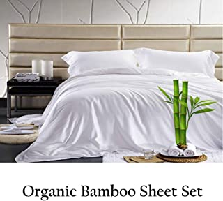 Jvin Fab Pure Bamboo Sheets King - Luxuriously Soft Bed Sheets | Eco Friendly | Cool | 100% Viscose Bambo (King, White)