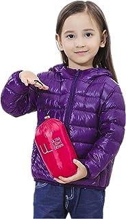 QCHENG Boys Girls Down Puffer Jacket Ultra Lightweight Hooded Packable Outerwear Coat for Kids