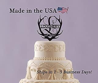 Deer Antler Cake Topper with Last Name, Established Date, Wedding Topper, Acrylic, Deer Decor, Wedding Cake Topper, Cake Decor, Groom