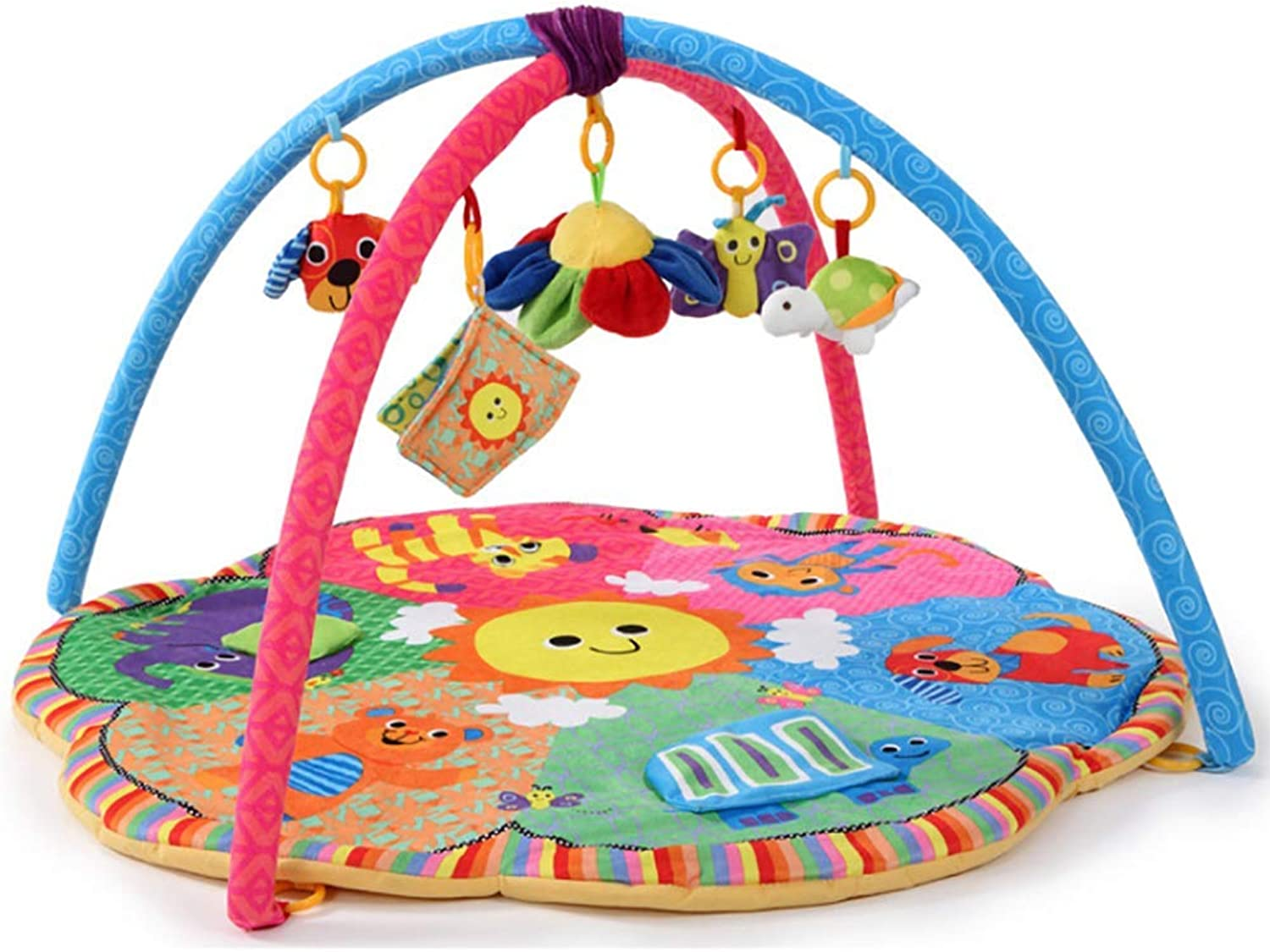 HEXbaby Super Deluxe Activity Gym Play Mat, Classic Animals, NewborntoToddler Play Gym