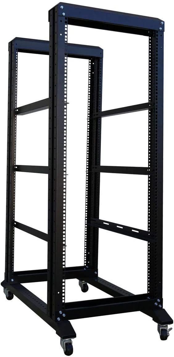 RAISING ELECTRONICS Server Rack Open Frame Rack 4 Post 19 inch Adjustable Server/Audio Rack Cold Rolled Steel(27U,24Depth)
