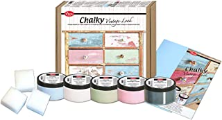 Viva Decor 5 x 90 ml Chalky Vintage-Look Set Starter-Set 10-teilig dekorative Lasuren - Vintage Kreidefarbe für Shabby Chic - Chalk Paint für Innen und Außen - Made in Germany