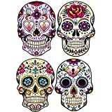 greestick 4 Stück Aufkleber Totenkopf by Sticker Bomb einzeln farbig Mexikanisch Skull Vinyl Decal