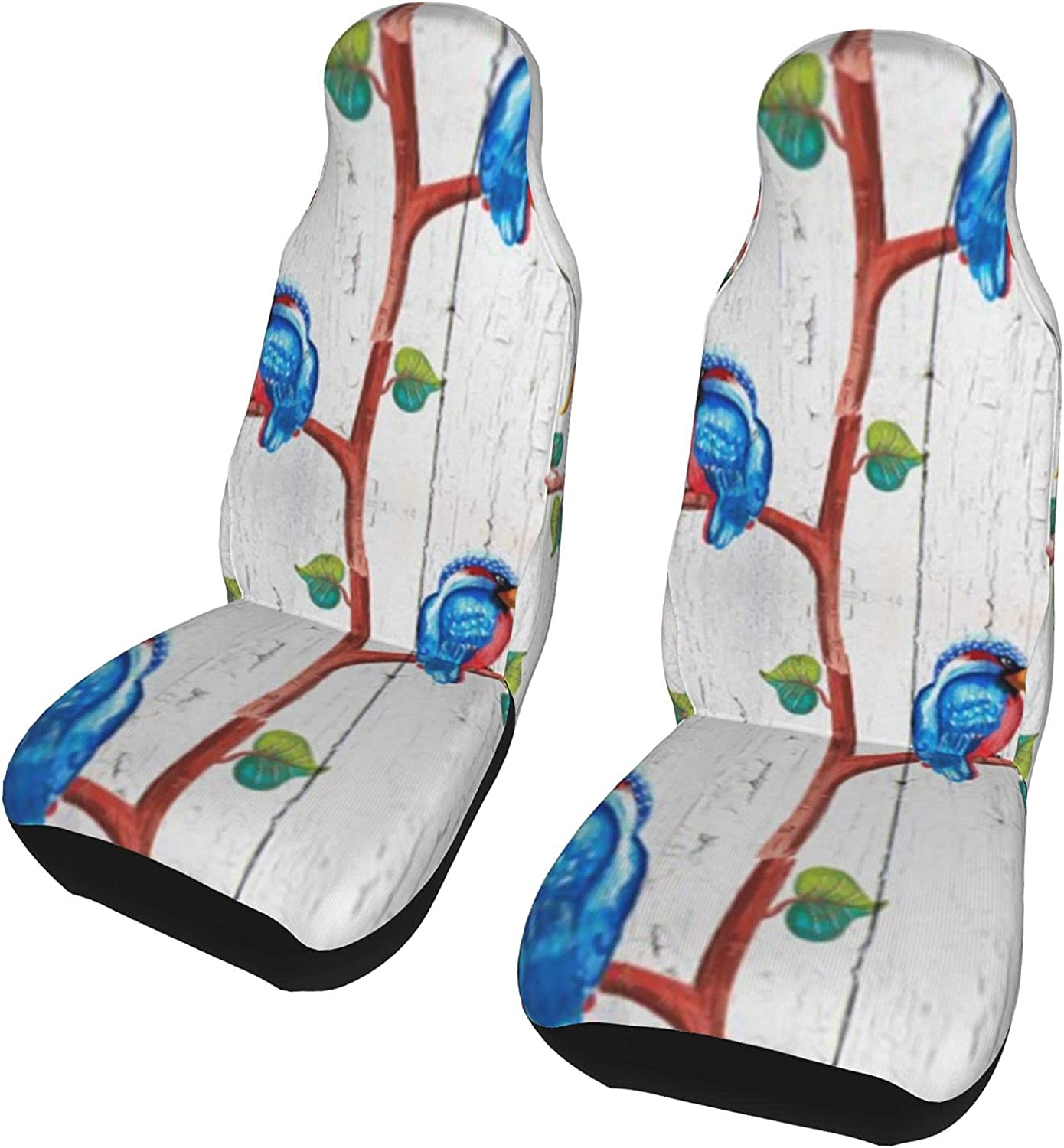 Bird Tree White Discount mail order Ranking TOP8 Wooden Board Front Seat 2 Covers Set Pro Car Pcs