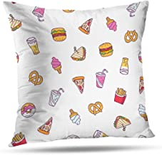 LANURA Pattern Throw Pillow Cover, Fast Food Cartoon Hamburger Pattern Junk American 18x18 Inch Decorative Throw Pillow Case Cushion Covers Pillow Covers Standard Pillowcase for Home Decor,Cream