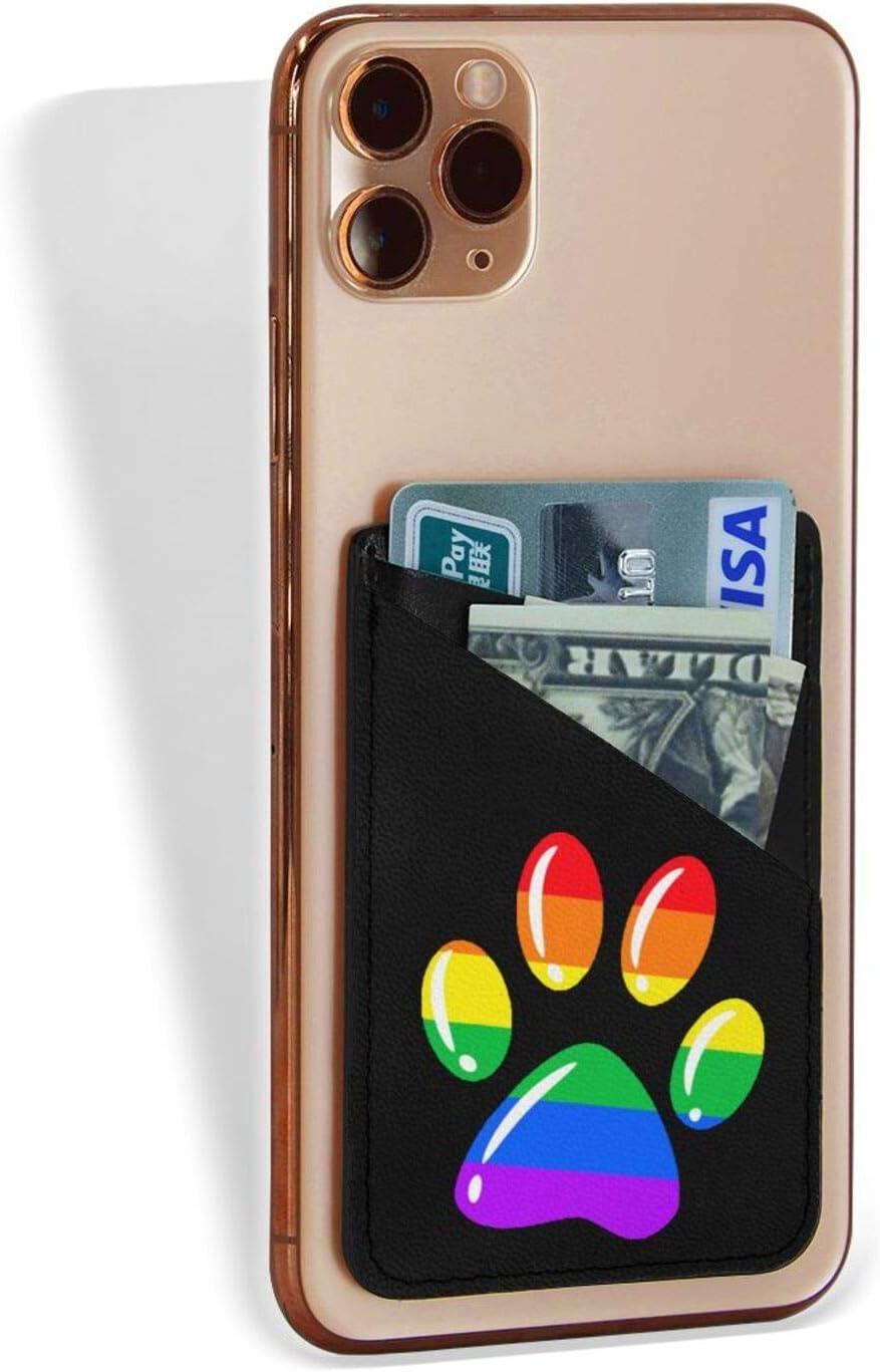 Rainbow Paw Print Dog Paw LGBT Pride LGBT Supporter Phone Card Holder Pocket Credit Card Case Sleeve Stick On Wallet