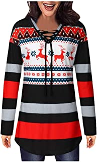 Ladies Christmas Print Top Sweatshirt Women Drawstring Tie Tops Pullover Blouse T-Shirt