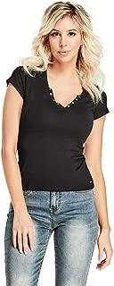 Women's Cerise Studded Split-Neck Short Sleeve Top