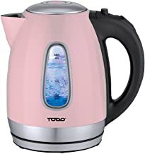 Todo 1.7L Stainless Steel Cordless Kettle 2200W Blue Led Light Electric Water Jug Pink