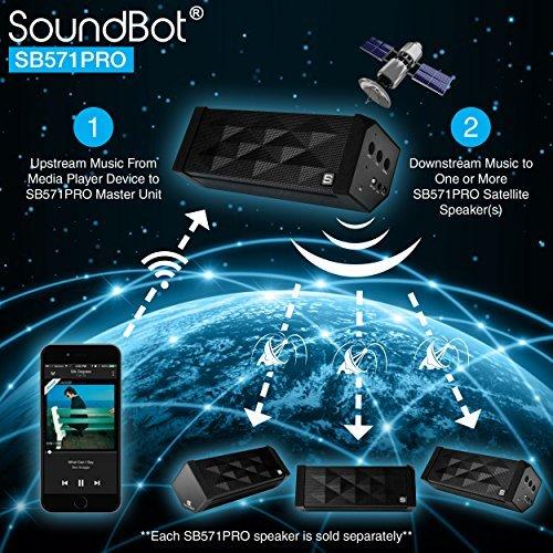 SoundBot SB571PRO Bluetooth QUADIO Satellite Portable Wireless Speaker w/ Multi-Unit Multi-Point Connectivity for Up to 4 Master/Slave Unit Simultaneous Surround Sound, HD 5W+5W Acoustic 2x50mm Driver, Black