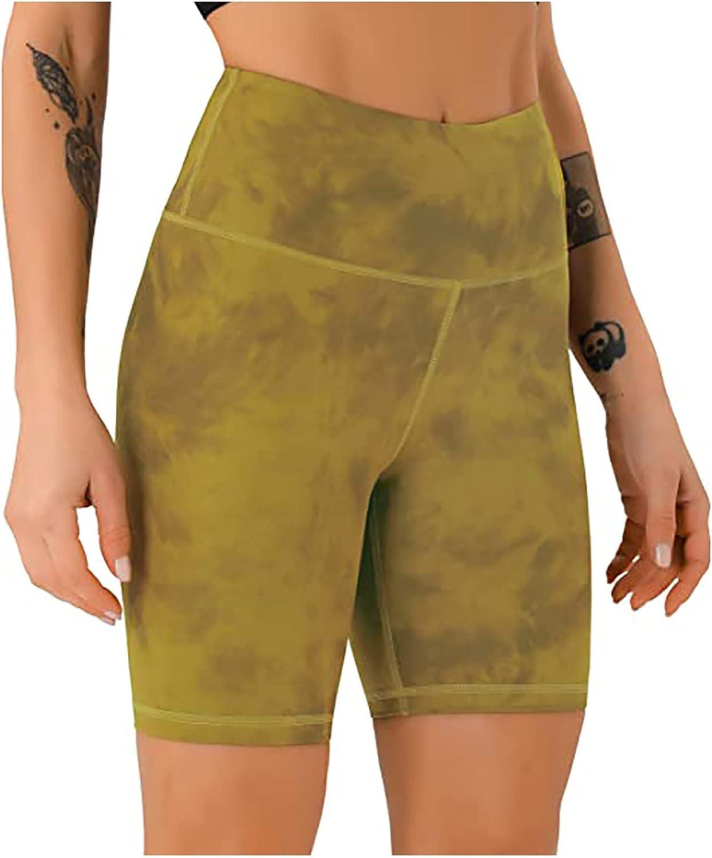 Belcol Women Printed Shorts,Summer Tie Dye Tight Shorts High Waist Tummy Control Yoga Fitness Activewear Leggings