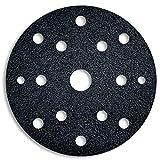 MENZER Black Discos Abrasivos con Velcro, 150 mm, 15 Agujeros, Grano 40, para Lijadoras Roto Orbitales, Carburo de Silicio (50 Piezas)