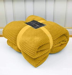 Super zachte popcorn getextureerde gooit fleece deken slaapbank warm groot settee (oker/mosterrad, koning: 200 cm x 240 cm)