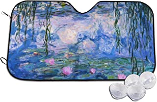 Lotus Pond Painting Automotive Windshield Sunshades, Perfect Auto Front Window Sun Shade Visor Shield Cover for Car Auto Truck SUV,