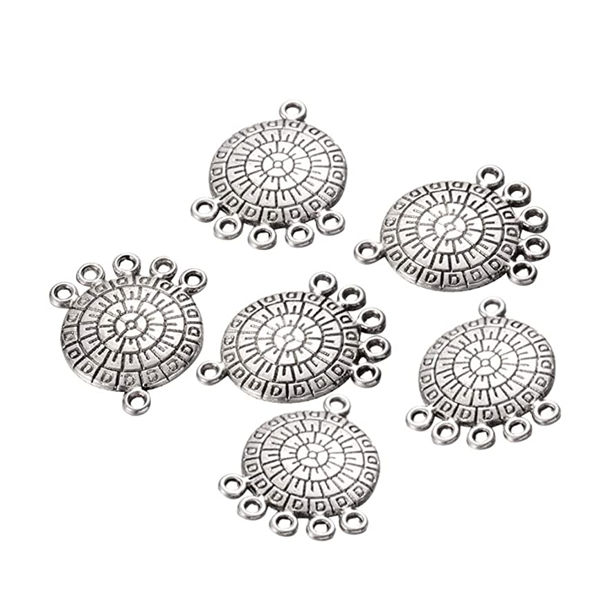 PH PandaHall 200pcs Alloy Flat Round Chandelier Component Links Antique Silver Tibetan Style Charm Links for Dangle Earring Making Jewelry Charms Home Decoration Supplies ji41948581