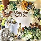 Kit de Arco Guirnalda Globos Verde, Selva Fiesta de Cumpleaños Decoracion para Niños, Jungle Balloon Party Decoration Kit de Arco Globos para Baby Shower, Fiesta de Jungla, Aniversario, Cumpleaños