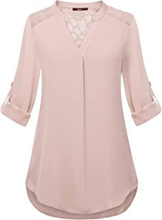 3/4 Sleeve Blouse Henley V Neck Lace Pleats Office Top Shirt Tunic