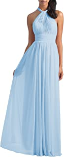 Women's Halter Pleated Chiffon Long Bridesmaid Dress Backless Formal Evening Gown