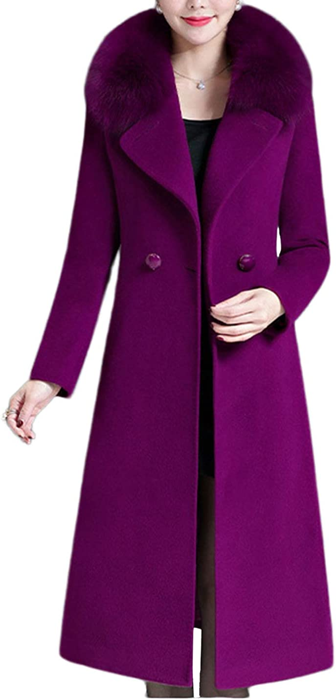 Uaneo Women's Casual Slim Faux Fur Collar Double Breasted Long Wool Pea Coats(Purple-S)