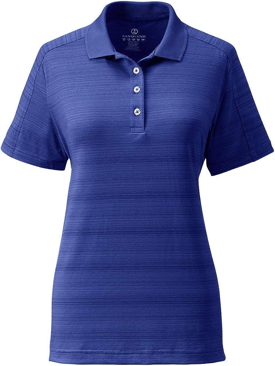 Lands End Womens Short Sleeve Tonal Stripe Polo
