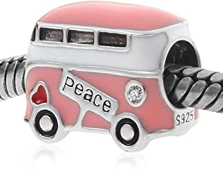 Peace Bus Bracelet Charms - 925 Sterling Silver with Pink Enamel, Mini Beads Fit Charm Bracelets and European Snake Chains for women, Travel/DIY Charms - Peaceful Theme, Memorable Gifts for Volunteer.