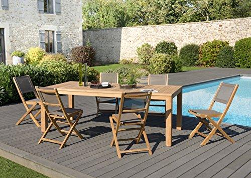 MACABANE 509521 Salon de jardincouleur Naturel/Taupe en Teck et Textilène Dimension