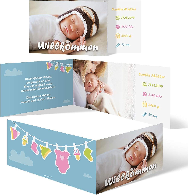 40 x Geburt Danksagungskarten Geburtskarten individuell mit Foto und und und Text für Mädchen und Jungen - Wäscheleine B07N11TZK3  | Heißer Verkauf  2458ba