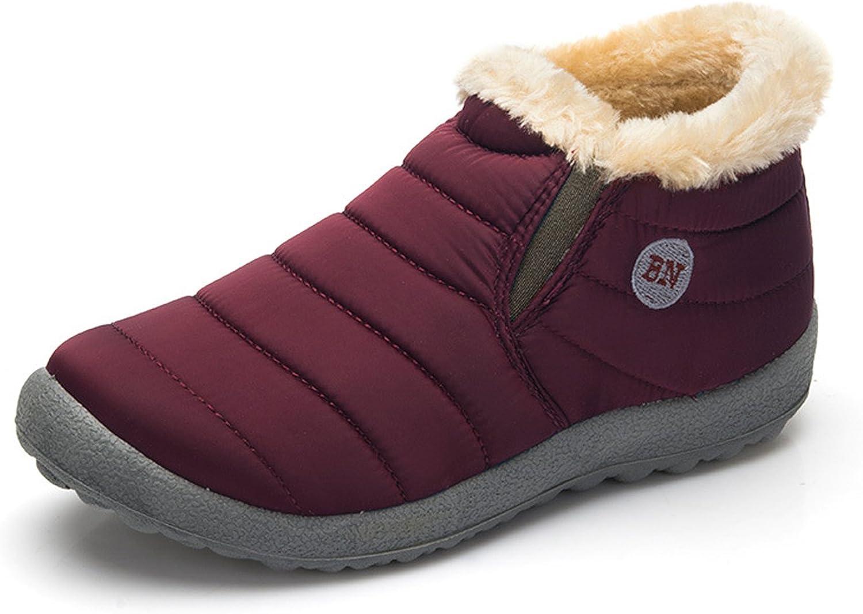Santimon Snow Boots Women Men Fur Lined Waterproof Winter Outdoor Slip On Boots Ankle Snow Booties Anti-Slip Lightweight shoes