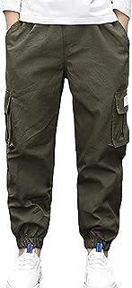 TIANKON Pantalones de deporte para niños y jóvenes, para primavera, otoño e invierno, cintura elástica, pantalones cargo c...